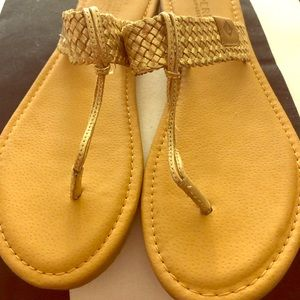 Gold Sperry thong sandals